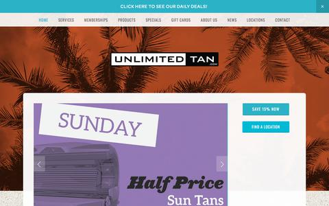 Screenshot of Home Page unlimitedtan.com - Unlimited Tan - captured July 13, 2018