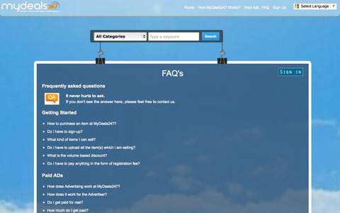 Screenshot of FAQ Page mydeals247.com - MyDeals247 - bargain online, paid ads, volume deals, hotel booking and more - captured Oct. 30, 2014