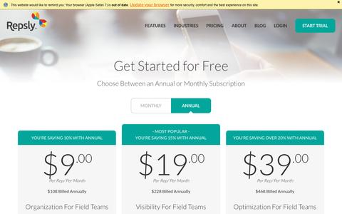 Screenshot of Pricing Page repsly.com - Repsly - Pricing - captured July 6, 2016
