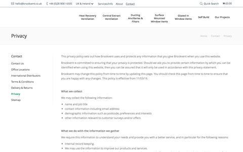 Screenshot of Privacy Page brookvent.co.uk - Privacy • Brookvent - captured July 30, 2016