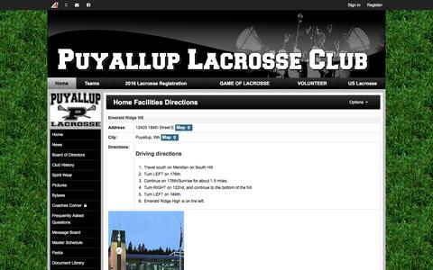 Screenshot of Maps & Directions Page puyalluplacrosseclub.org - Home Facilities Directions | Puyallup Lacrosse Club - captured Dec. 14, 2015