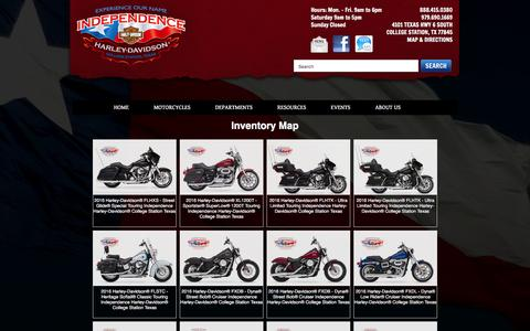 Screenshot of Site Map Page independencehd.com - Inventorymap   Independence Harley-Davidson®   College Station Texas - captured Feb. 10, 2016