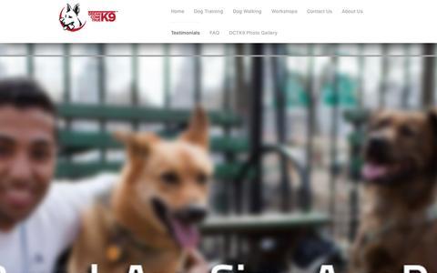 Screenshot of Testimonials Page dctk9.com - Testimonials - Dog Training NYC - Dog Trainer | DCTK9 - captured Oct. 5, 2014