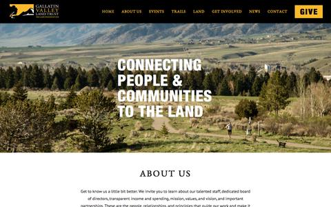 Screenshot of About Page gvlt.org - About Us | Gallatin Valley Land Trust - captured Oct. 20, 2016