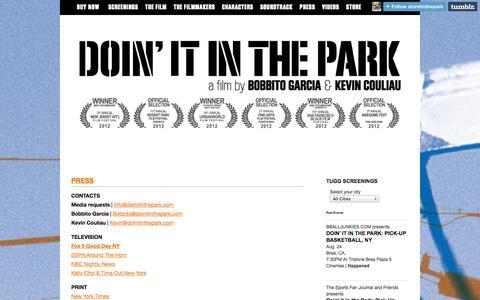 Screenshot of Press Page doinitinthepark.com - PRESS | DOIN' IT IN THE PARK - captured Oct. 5, 2014