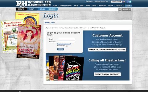 Screenshot of Login Page rnh.com - Rodgers & Hammerstein :: Login - captured Sept. 23, 2014