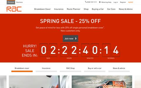 Screenshot of Home Page rac.co.uk - RAC Breakdown Cover & Car Insurance   Route Planner   RAC - captured March 22, 2019