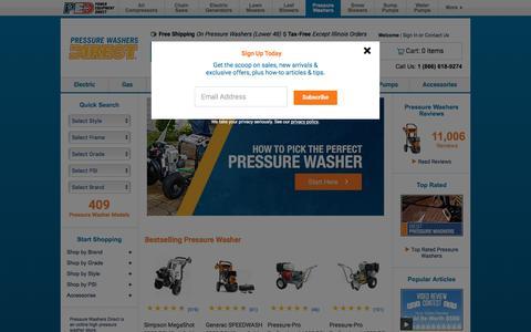 Screenshot of Home Page pressurewashersdirect.com - Pressure Washers Direct | Power Washer Superstore - captured July 21, 2018