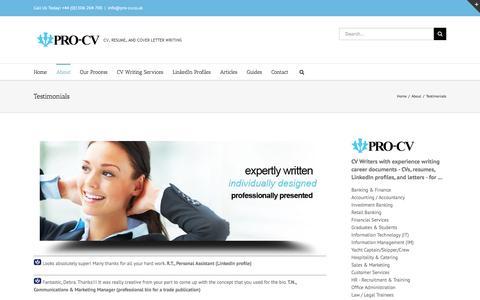 Screenshot of Testimonials Page pro-cv.co.uk - Client testimonials about CV writing services | Pro-CV Professional CV Writing Service - captured Jan. 31, 2016