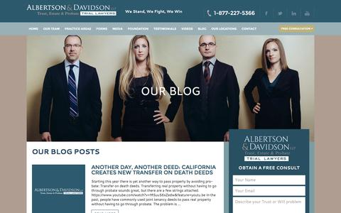 Screenshot of Blog aldavlaw.com - Watch Our Trust, Estate & Probate Video Blog - captured March 31, 2016