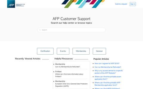 Screenshot of Support Page zendesk.com - Association for Financial Professionals - captured Sept. 25, 2018