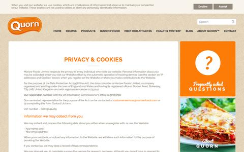 Screenshot of Privacy Page quorn.co.uk - Privacy & Cookies - captured Jan. 19, 2016