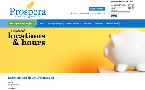 Screenshot of Locations Page myprospera.com - Locations and Hours for Prospera Credit Union's Branches - captured Sept. 13, 2017
