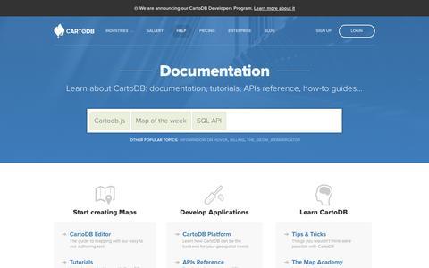Screenshot of Support Page cartodb.com - Documentation — CartoDB - captured Oct. 28, 2014