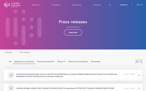 Screenshot of Press Page insidesecure.com - Press releases - - captured May 23, 2017