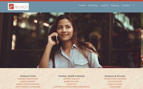 Screenshot of Home Page pachecoplaza.com - Pacheco Plaza Novato : Novato Shopping Center | The Heart of Novato - captured Oct. 18, 2018