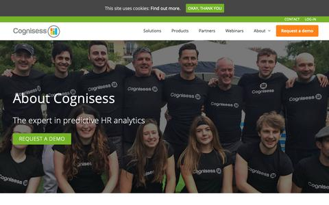 Screenshot of About Page cognisess.com - The Company - Cognisess | Experts in Predictive HR Analytics | Cognisess - captured Nov. 5, 2018