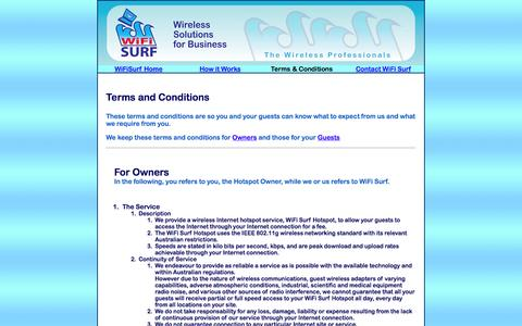 Screenshot of Terms Page wifisurf.com.au - WiFi Surf Terms and Conditions - captured Oct. 26, 2014