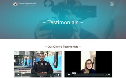 Screenshot of Testimonials Page vevideoproduction.ie - Testimonials - Vivid Eye Video Production - captured Oct. 18, 2018