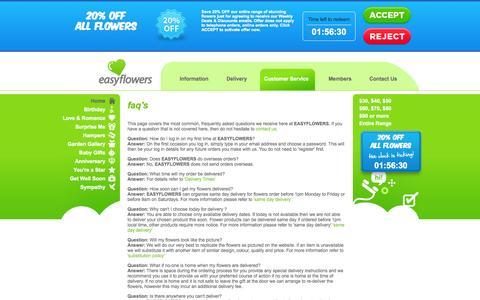 Screenshot of FAQ Page easyflowers.com.au - FAQ's - EASYFLOWERS - captured Sept. 25, 2014