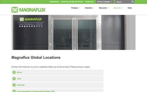 Screenshot of Locations Page magnaflux.com - Locations | Magnaflux - captured July 25, 2018