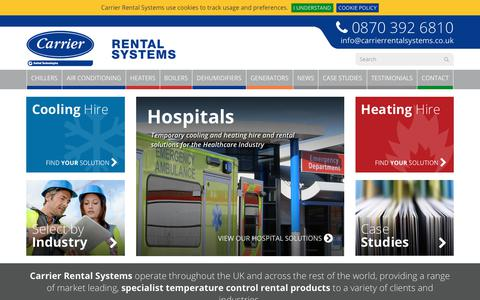 Screenshot of Home Page carrierrentalsystems.co.uk - HVAC Equipment for Hire from Carrier Rental Systems - captured July 16, 2018