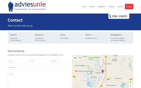 Screenshot of Contact Page adviesunie.nl - Contact  | Adviesunie Hypotheken & Assurantiën - captured May 29, 2017