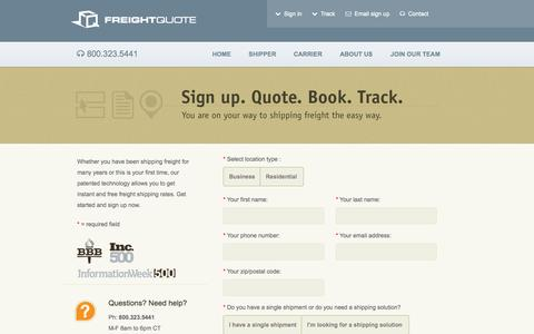 Screenshot of Signup Page freightquote.com - Sign Up for Free Freight Quotes - Freightquote - captured Sept. 23, 2014
