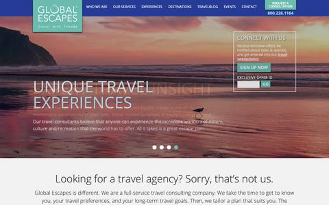 Screenshot of Home Page globalescapes.com - Global Escapes | Travel Agency Athens GAGlobal Escapes - captured Sept. 28, 2018