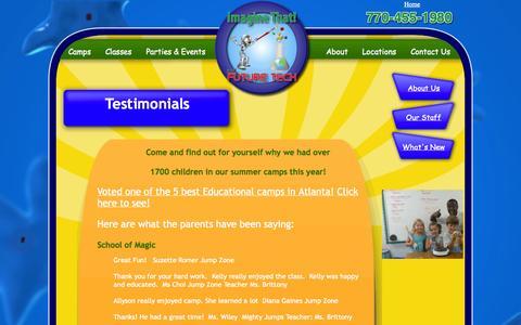 Screenshot of Testimonials Page imaginethatfun.com - Imagine That Fun - Preschool Classes - captured Oct. 6, 2014