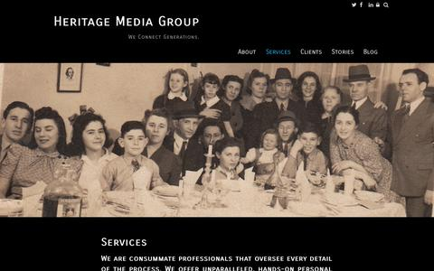Screenshot of Services Page weconnectgenerations.com - Customized Video Biography   HeritageMediaGroup - captured Oct. 1, 2014
