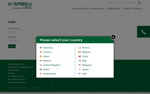 Screenshot of Login Page sabeu.com - Login - SABEU Plastik & Membran Technologie - captured May 26, 2017