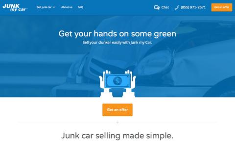 Screenshot of Home Page junkmycar.com - Sell Your Junk Car Instantly | Junk my Car - captured Oct. 1, 2015