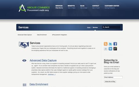 Screenshot of Services Page absolutecommerce.com - Services - Absolute Commerce, Inc - captured Oct. 4, 2014