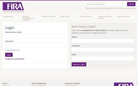 Screenshot of Login Page fira.co.uk - Login - The Furniture Industry Research Association - captured Nov. 14, 2018