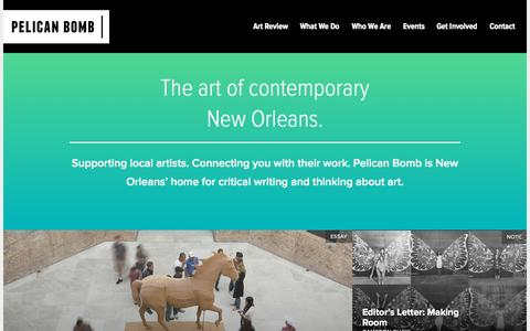 Screenshot of Home Page pelicanbomb.com - Pelican Bomb · The art of contemporary New Orleans. - captured Sept. 24, 2015