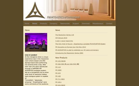 Screenshot of Press Page fmacoustics.com - News Introducing the Resolution FM 118 - FM ACOUSTICS LTD. - captured Oct. 13, 2017