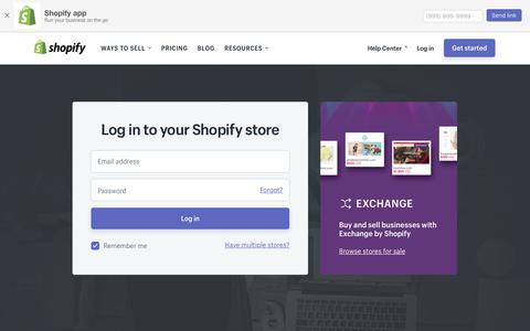 Screenshot of Login Page shopify.com - Login — Shopify - captured April 18, 2018