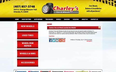 Screenshot of Press Page charleystiresandwheels.com - Charley's Tires and Wheels News Orlando, FL Kissimmee, FL Daytona, FL Tires Shop - captured Oct. 28, 2014