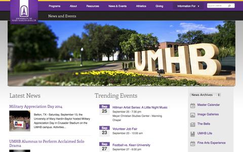 Screenshot of Press Page umhb.edu - News and Events | University of Mary Hardin-Baylor - Belton, TX - captured Sept. 19, 2014