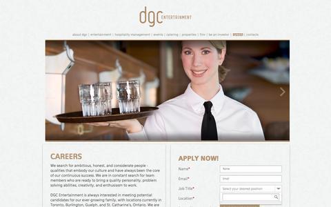 Screenshot of Jobs Page dgcentertainment.com - careers - captured Jan. 7, 2016