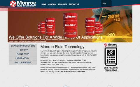 Screenshot of Home Page monroefluid.com - Monroe Fluid Technology | Monroe Fluid Technology - captured Nov. 19, 2018