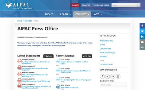 Screenshot of Press Page aipac.org - Press | AIPAC.org - captured March 23, 2019