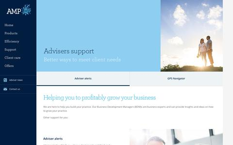 Screenshot of Support Page amp.com.au - Insurance business growth - AMP adviser support - captured Feb. 24, 2018