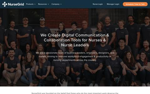 Screenshot of About Page Contact Page nursegrid.com - Company - captured Oct. 20, 2018