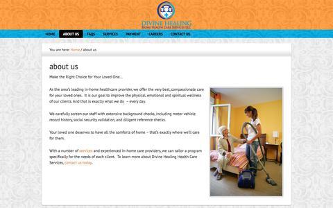 Screenshot of About Page divinehealingnursing.com - about us - captured Sept. 24, 2018