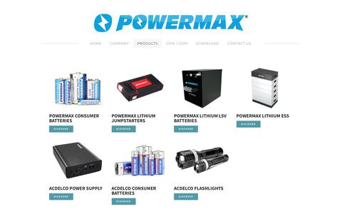 Screenshot of Products Page powermaxusa.com - Products - Powermax Inc. - captured Sept. 29, 2018