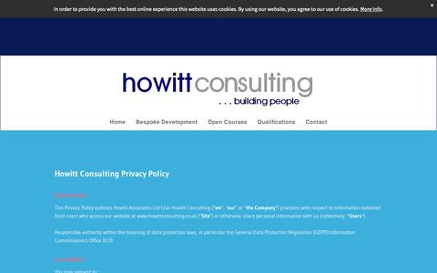 Screenshot of Privacy Page howittconsulting.co.uk - Howitt Consulting - captured Dec. 8, 2018