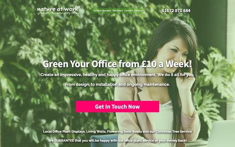 Screenshot of Home Page nature-at-work.co.uk - Office plants, great pot & tropical plants for your offices — Nature at Work - captured Oct. 18, 2018