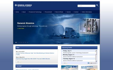 Screenshot of Home Page ga.com - General Atomics & Affilated Companies - captured July 11, 2014
